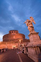 Castel Sant'Angelo and Bernini's statues on Sant'Angelo Bridge, Rome, Italy