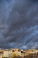 Storm clouds over Croix-Rousse district, Vieux Lyon, Lyon. Rhône-Alpes, France