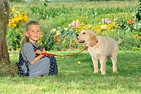 young Golden Retriever and girl in the garden