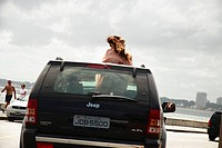 Woman, Car, Beach, Punta del Este, Uruguay.
