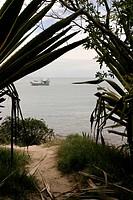 Boat in seascape, Bombas, Santa Catarina, Brazil