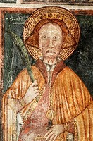 Detail of paintings in the Romanesque church of Sts. Peter and Paul, Brebbia. Lombardy, Italy