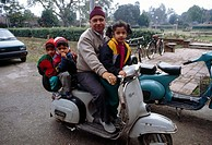 Amritsar India Family On Indian Scooter