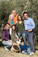 Family in olive grove