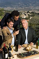 Men looking at olive oil
