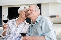 A senior couple having a glass of red wine