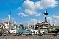 Harbour, observation tower, theme park Het Arsenaal, Vlissingen, peninsula Walcheren, Zeeland, Netherlands