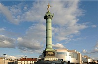France - Ile-de-France - Paris. Place de la Bastille. UNESCO World Heritage List, 1991. July Column, 1833. Carlos Ott, 1989, Opera House 'Opéra Bastil...