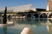 Spain - Valencia. City of Arts and Science (Ciudad de las Artes y las Ciencias). Walkway access to complex arboretum 'Umbracle'. Designer architect Sa...