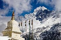Pagoda in a mountain range, Thamserku, Sagarmatha National Park, Khumbu, Nepal