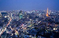Aerial view of a tower in a city, Tokyo Tower, Tokyo Prefecture, Japan