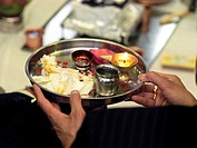 Arti Tray Being used In the Hindu Engagement Ceremony at the Hindu society Wimbledon London England