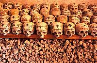 Austria, Europe, Beinhaus, Hallstatt, Oberosterreich, Upper Austria, ossuary, bones, skulls, skull, painted, old, hist