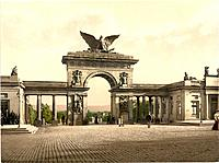 Krieger Monument, Thor, Cassel, Kassel, Hesse_Nassau, Germany, Europe, German Empire, Aue_Tor, Photochrom, about 1900
