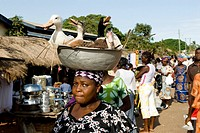 anylena, market on volta river, ghana, west africa