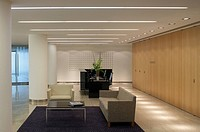 BAKER BOTTS, 41 LOTHBURY, LONDON, EC2 MOORGATE, UK, GENSLER, INTERIOR, LANDSCAPE VIEW ACROSS SEATING AND RECEPTION AREA