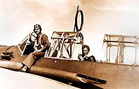 WWII era pilots in trainer