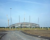 COMMONWEALTH STADIUM, EAST LANDS, MANCHESTER, GREATER MANCHESTER, UK, LOBB SPORTS ARCHITECTURE, EXTERIOR, UNDER CONSTRUCTION _ FRONT VIEW