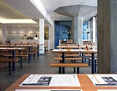 WAGAMAMA RESTAURANT, SOUTHBANK CENTRE, LONDON, SE1 SOUTHWARK + BERMONDSEY, UK, AUKETT TYTHERLEIGH, INTERIOR, INTERIOR WITH ORIGINAL CONCRETE COLUMNS