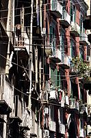 Apartment building on the street of historic center of Naples. Campania. Italy