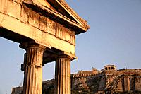 The view of Acropolis from Roman Agora. Athens. Greece