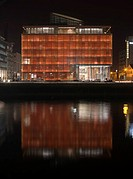 RIVERSIDE ONE OFFICES, SIR JOHN ROGERSON'S QUAY, DUBLIN, IRELAND, SCOTT TALLON WALKER ARCHITECTS, EXTERIOR, NIGHT RIVER LIFFEY / ORANGE