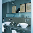 Sinks in modern bathroom
