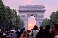 Solar eclipse under the Triumphal Arch, Paris, France