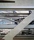 BMW PLANT LEIPZIG CENTRAL BUILDING, LEIPZIG, GERMANY, ZAHA HADID ARCHITECTS, INTERIOR, OFFICE AND CAR CONVEYOR