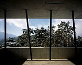 SKI JUMP, BERGISEL MOUNTAIN, INNSBRUCK, AUSTRIA, ZAHA HADID ARCHITECTS, INTERIOR, VIEW OUT FROM BASE OF SKI JUMP