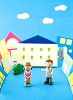 Paper clay toy, two persons