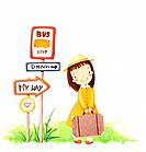 Illustration of girl traveling (thumbnail)