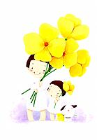 Illustration of kids and flowers