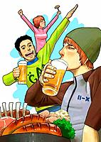 Young men drinking beer