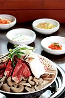 Korean food, mushroom, meat