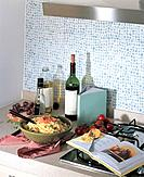 Food and wine in kitchen