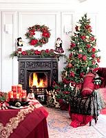 Living room interior with Christmas decorations