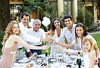 Seven people outdoors at a party toasting drinks and smiling