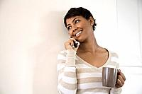 African woman talking on telephone