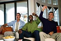 Multi_ethnic men cheering on sofa