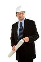 Architect in business suit with helmet on white background
