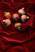 Red and gold colored Christmas ornaments