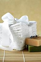 Stack of towels and bar soap