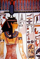 Luxor Egypt Painting of Neith Goddess of War and Funerals in Tomb of Nefertari
