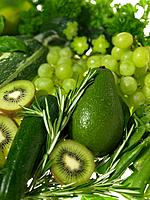 Assorted green fruits and vegetables