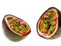 One Passion Fruit cut in half