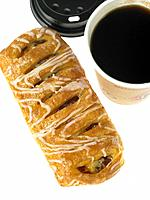 One cup of take out Coffee and one Danish Pastry