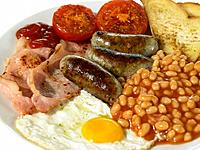 British Breakfast with Bacon Eggs Sausage Beans and Tomato