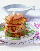Potato and onion rosti with salmon trout and horseradish