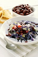 Red cabbage soup with savoy cabbage and red kidney beans